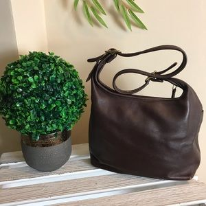 Vintage Brown Leather Coach Shoulder Bag